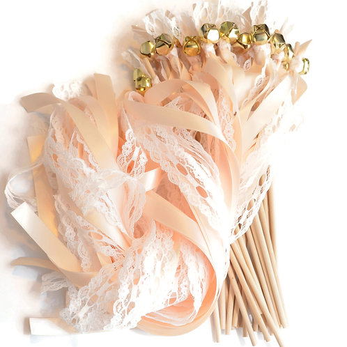 25 Pale Champagne & True Ivory LACE Ribbon Gold Bell Wands  #FairyWands