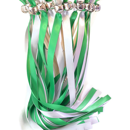 50 Ribbon Bell Wands Emerald & Silver  #WeddingWands #FairyWands