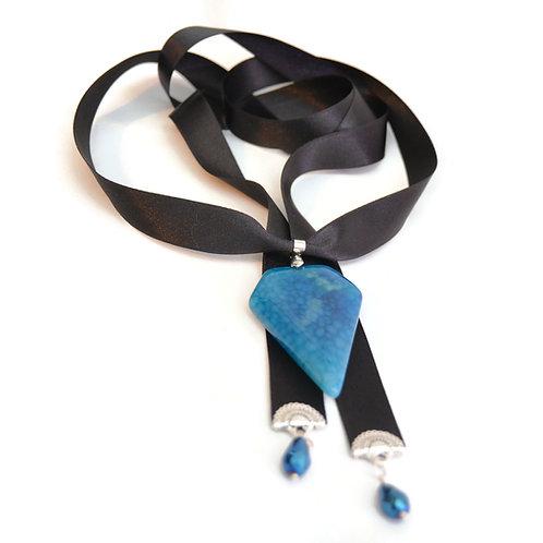 OOAK Blue Agate Velvet Ribbon Necklace