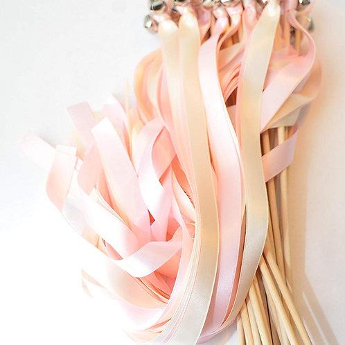 100 Ribbon Bell Wands Tickled Pink & Ivory #WeddingWands