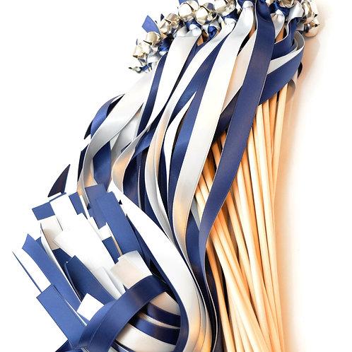 25 Navy & Silver Ribbon Bell Wedding Wands #WeddingWands