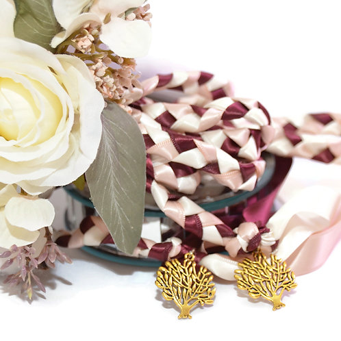 Divinity Braid Burgundy Blush Champagne Tree of Life Wedding Handfasting Cord