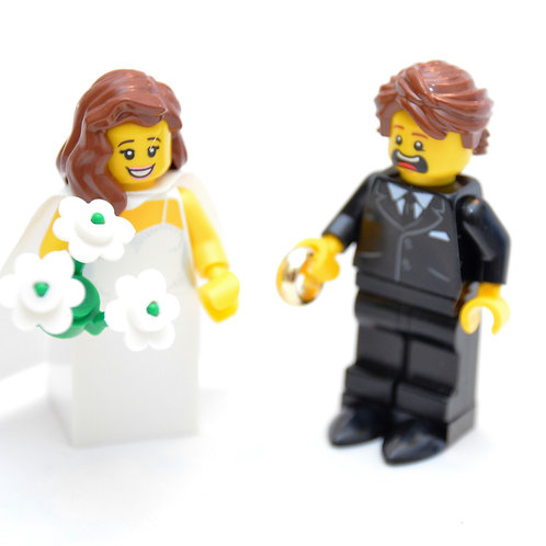 Custom Lego Minifigure Bridal Couple #Wedding Lego #Bride #Groom #CustomLego #Le