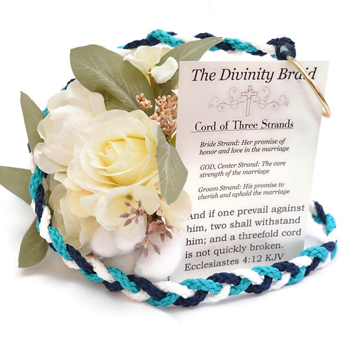 Divinity Braid Cord of Three Strands Turquoise Navy #Wedding