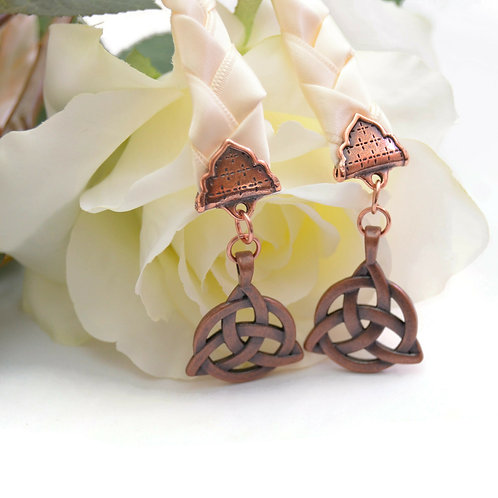 Ivory Copper Celtic Triquetra Wedding Handfasting V6 Cord