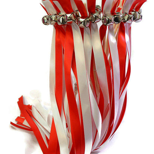 100 Ribbon Bell Wands Red & White  #We
