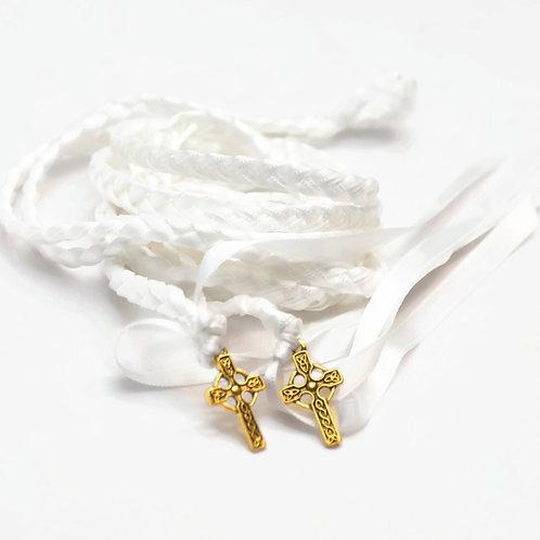 White Celtic Gold Cross Wedding Handfasting Cord #Wedding #Handfasting