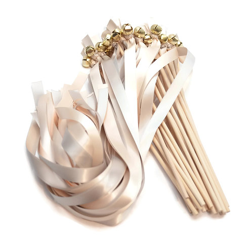 25 Platinum & Pale Champagne Wedding Bell Wands #WeddingWands