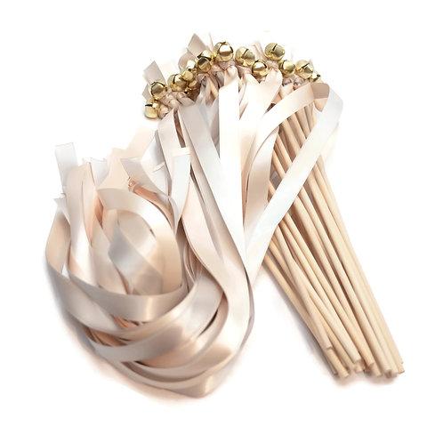 25 Platinum & Pale Champagne Wedding Bell Wands #WeddingWands