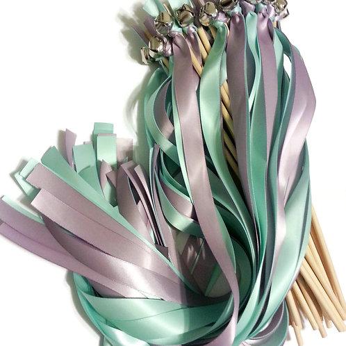 25 Aqua (Mint Blue) & Fresco Ribbon Bell Wedding Wands