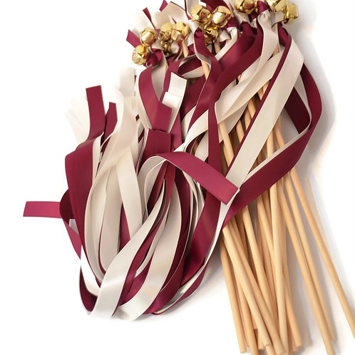 25 Sangria & True Ivory Ribbon Bell Wedding Wands #WeddingWands