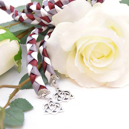 Burgundy Celtic Heart Knot v4 Wedding Handfasting Cord #Wedding #Handfasting