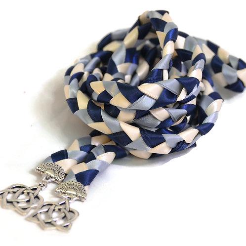 Divinity Braid Dusty Navy Silver Celtic Heart Wedding Handfasting Cord