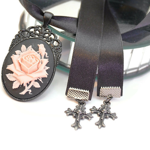 OOAK Petal Pink Black Rose Cameo Luxury Ribbon Necklace