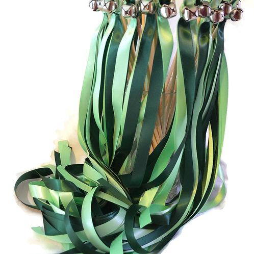 25 Hunter & Mint Green Ribbon Bell Wedding Wands #WeddingWands