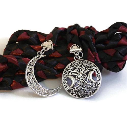 Divinity Braid Black & Burgundy Wiccan Moon Goddess Wedding Handfasting Cord #