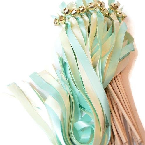 25 Aqua (Mint Blue) & Bridal White Ribbon Bell Wedding Wands