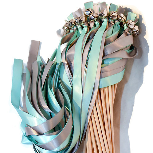 25 Aqua (Mint Blue) & Mercury Gray  Ribbon Bell Wedding