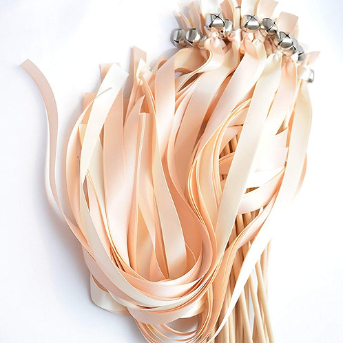 100 Ribbon Bell Wands Blush & Ivory  #WeddingWands