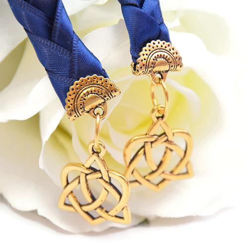 Navy Gold Celtic Heart V4 Wedding Handfasting Cord #Wedding #Handfasting #Celtic