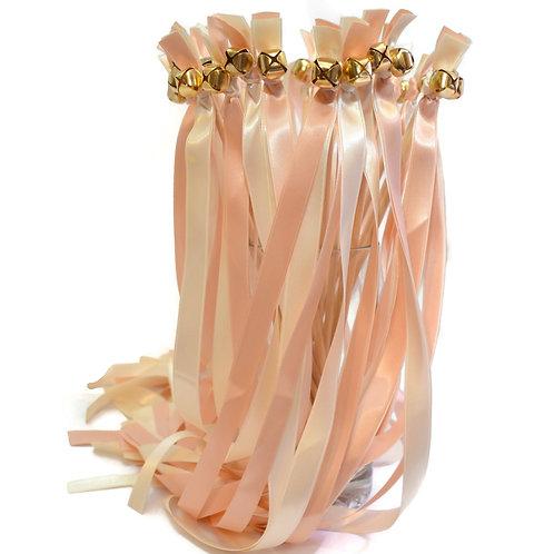 50  Blush Champagne & Ivory Ribbon Bell Wands WeddingWands #FairyWands