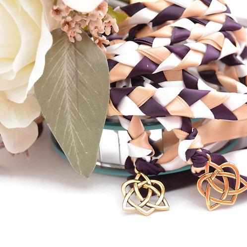 Divinity Braid Plum Gold Celtic Heart Knot v4 Wedding Handfasting Cord
