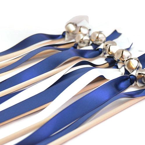 10 Navy Blue & White Ribbon Bell Wedding Wands #WeddingWands