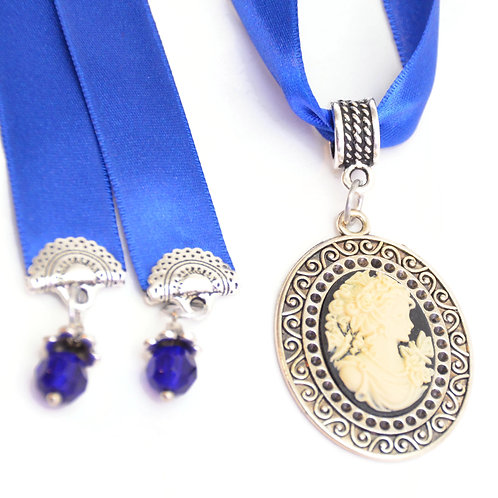OOAK Victorian Royal Blue Lady Cameo Luxury Ribbon Necklace