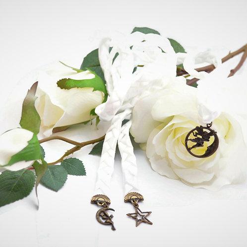 Divinity Braid 3 Charm  White  Moon Fairy Charm Wedding Handfasting Cord