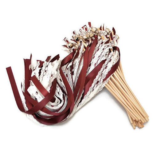 25 Burgundy & True Ivory LACE Ribbon Gold Bell Wands  #FairyWands #KissingBells