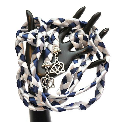 Navy Silver Celtic Heart Knot v4 Wedding Handfasting Cord #Wedding #Handfasting