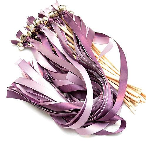 25 Amethyst (Wisteria) & Fresco (Iris) Ribbon Bell Wedding Wands #WeddingWands