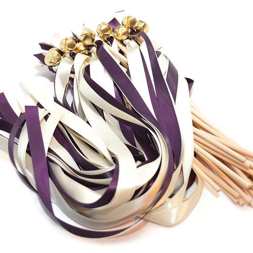 25 Eggplant (PLUM) & Ivory Ribbon Bell Wedding Wands #WeddingWands #FairyWands
