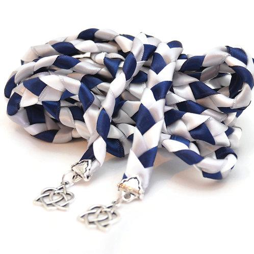 Navy Silver Celtic Heart Knot v3 Wedding Handfasting Cord #Wedding