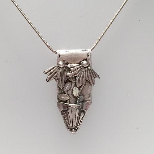 Silver Coneflower Pendant