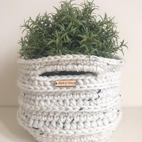 Small Ribbed Crochet Basket Natural