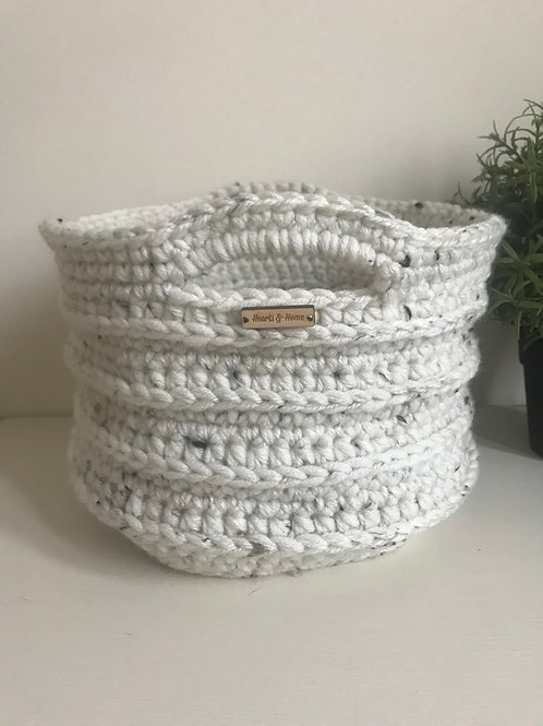 Medium Ribbed Crochet Basket Natural