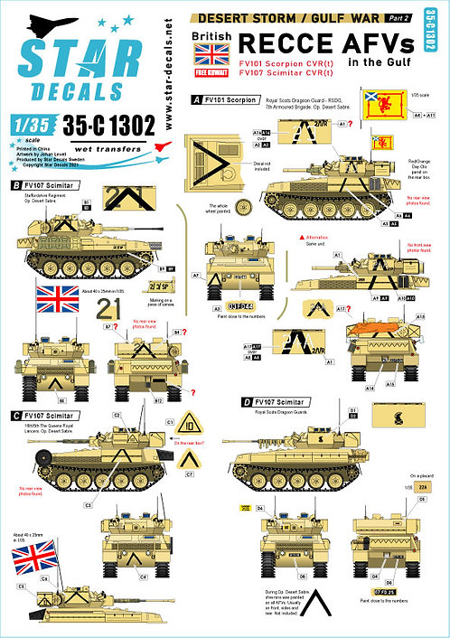 C1302 Star Decals Gulf War Part 2 Recce AFVs