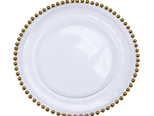 Clear Gold Beaded Charger Plates