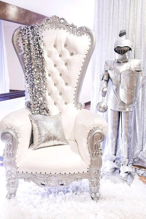 White/Silver Single Throne