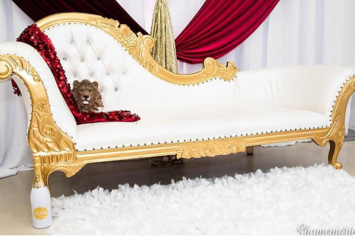 GOLD/WHITE CHAISE LOUNGE