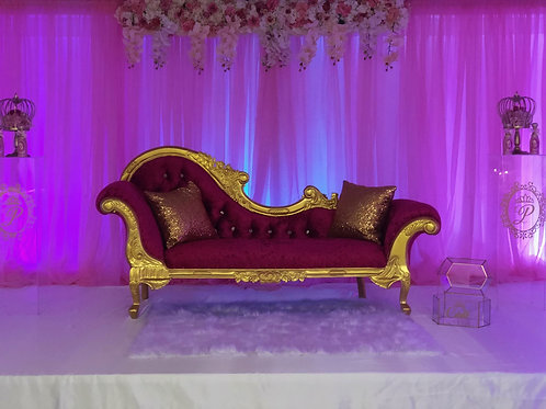 Pink/Gold Chaise Lounge