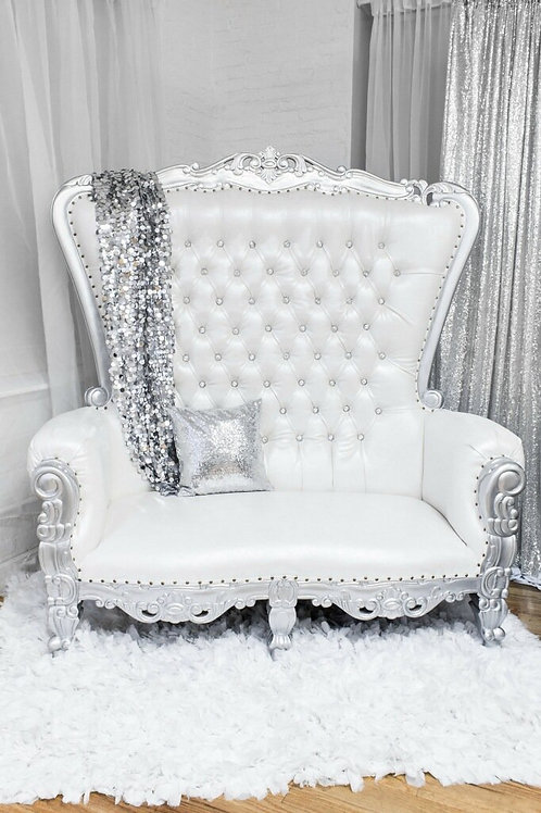 White/Silver Love Seat