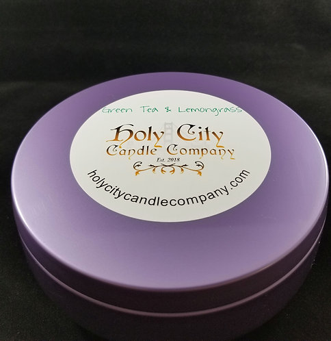 Green Tea & Lemongrass, three wick, 14 oz, large, purple tin