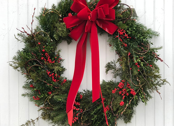 XLarge Evergreen Wreath - Winterberry