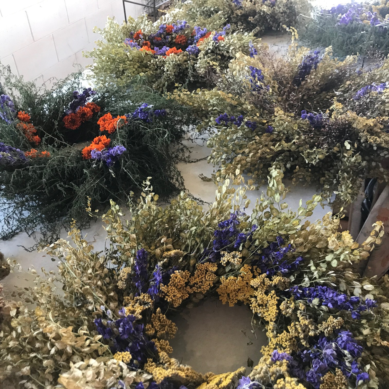 Roots dried flower wreaths