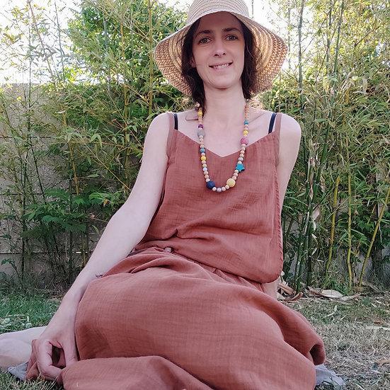 Robe Nectarine Unie - T1 - Cintrée aux genoux - Longue aux chevilles