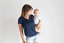 T-shirt allaitement - T-shirt Lune - Bleu Marine - Petite graine by mums