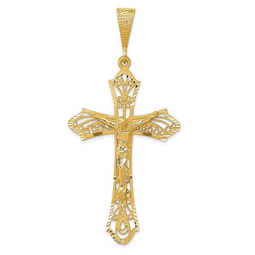 14K Satin Diamond-Cut Crucifix