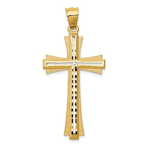 14K Diamond Cut And Satin Cross